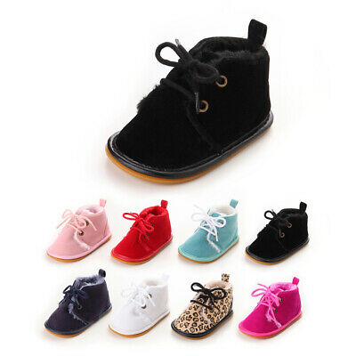UK Newborn Baby Boy Girl Booties Soft Sole Snow Boots Winter Warm Fur Crib Shoes