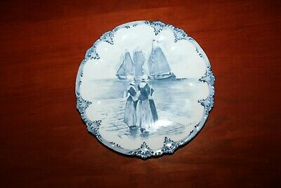 Antique Hand Painted 'Dutch Women & Three Sailboats' Plate - France