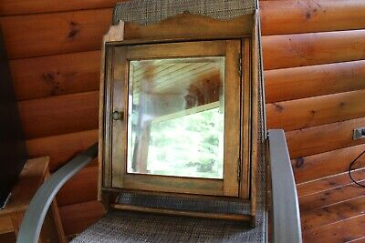 Antique Wood 'Peerless' Medicine Cabinet Cupboard  With Beveled Mirror