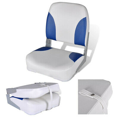 PAIR of Boat Seats with Folding Backrest Grey Fold Down Cushioned 500 x 430mm
