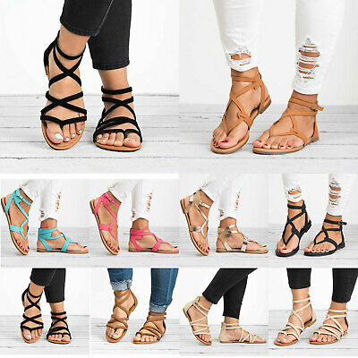 Women Cross Sandals Ankle Strap Summer Beach Ladies Flat Lace Up Gladiator Shoes
