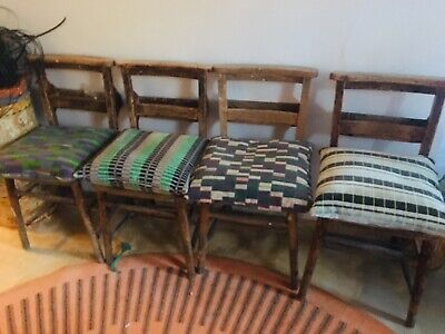 Vintage Solid Wood Chapel Church Chair Dining Chairs x 4