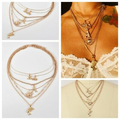 Ancient Egyptian Queen Head Pharaoh Pendant Multilayer Chain Necklace Crown Sun