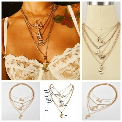 Ancient Egyptian Queen Head Pharaoh Multilayer Chain Necklace Letter A Jewelry