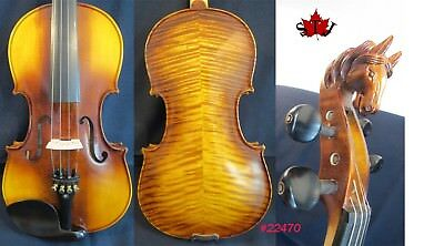 Hand made horse head full size violin,flames maple back good sound 4/4 #22470