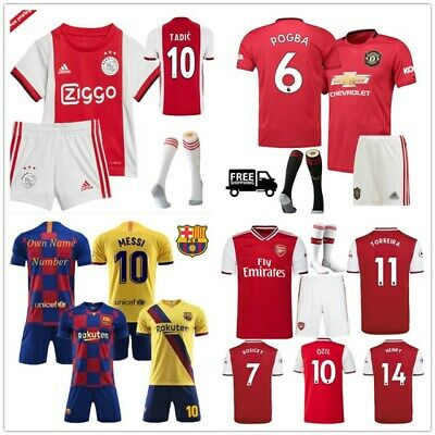 19/20 Football Kits Soccer Suits Kids Adults Jersey Strip Sports Outfit UK