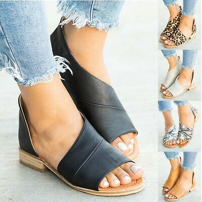 Womens Ladies Gladiator Casual Sandals Open Toes Summer Beach Flats Shoes Boots
