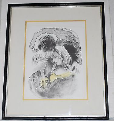 M. Maurice Signed and Numbered 77/250 Lithograph Man and Woman Matted & Framed