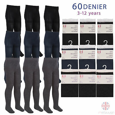 3 or 6 Pairs of Kids Girls 60 Denier Opaque Back to School Tights Microfibre UK