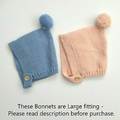 Baby Girls Boys Knitted Classic Pom Pom Fleece Bonnet Hat Pink Blue 0-18M