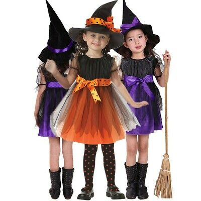 Halloween Toddler Kids Baby Girls Clothes Costume Dress Party Dresses+Hat Outfit