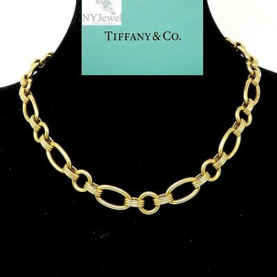 NYJEWEL Tiffany & Co 14K Yellow Gold 10mm wide Heavy Chain Necklace 69.5 Grams