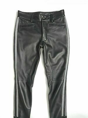 Real Leather Breeches Police Pant Black Gay Jeans Genuine Leather Trouser New