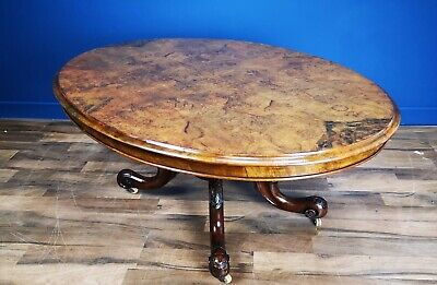 Antique Victorian Burr Walnut Oval Coffee Table Circa 1860