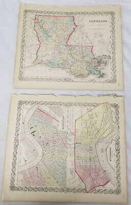 Antique Hand Colored Lithograph Map Louisiana New Orleans Colton's Atlas