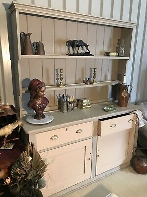 Antique Pine Painted Welsh Dresser Cupboard Shelf Unit Sideboard