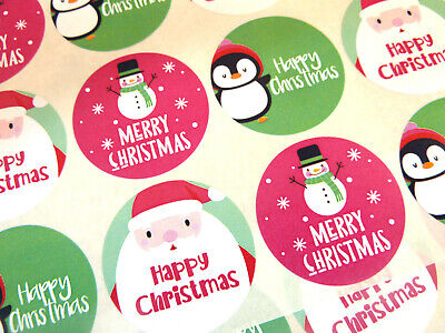 Merry Happy Christmas Round Seal Labels, Stickers for Cards & Craft - 7 Designs