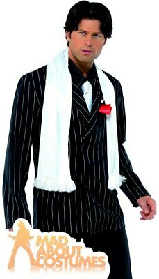 20s 1920s Gangster Scarf with tassles Capone Fancy Dress White New by Smiffys