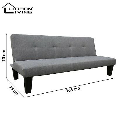 Grey Fabric Modern Sofa Bed 3 Seater Padded Folds Flat 3 Positions Wooden Legs