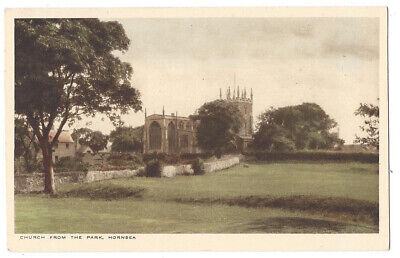 HORNSEA St Nicholas Church from the Park, Old Postcard, Unused Pub by Loten