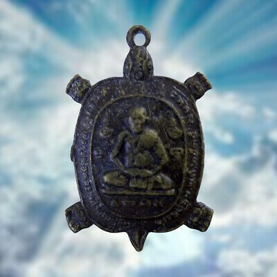 Thai Amulet Pendant Phra LP. Liew Ride Turtle Wealth Talisman Life Protect Lucky