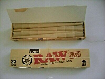 2 x 32 BOXS = 64 RAW KING SIZE PRO-ROLLED CONES IN SMALL BOX FOR SMOKING RIZLA