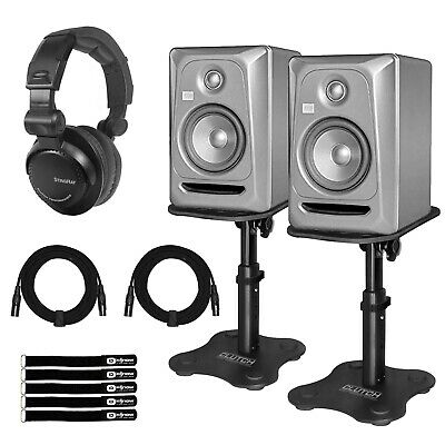 """KRK Rokit RP5G3 5"""" Powered Limited Edition Platinum Studio Monitors w Stands"""