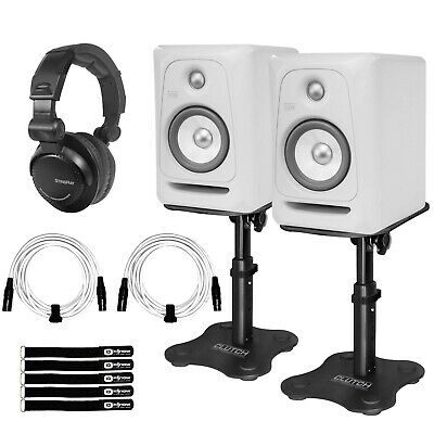 """KRK Rokit RP5G3 5"""" Powered Limited Edition White Studio Monitors w Stands"""