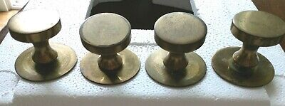 Vintage Cabinet Drawer Pulls Knobs with Backplate Brass Tone lot of 4