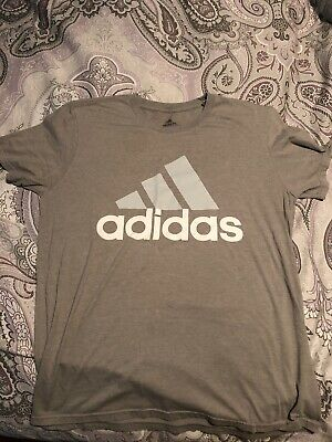 AUTHENTIC ADIDAS CLIMALITE LOGO THE GO TO PERFORMANCE GREY  T SHIRT 4861A GR BL