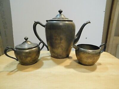 Vintage 3 piece Tea Set Silver on Copper - by N.S. Co. - National Silver Co.