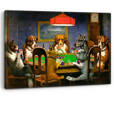 Dogs Playing Cards C.M Coolidge Poker Canvas Pub Wall Art Painting Picture Print