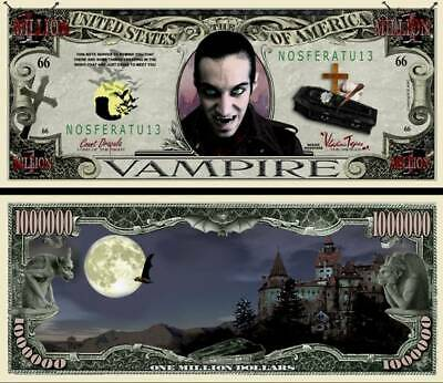 VAMPIRE x 2 NOVELTY MILLION DOLLAR BANKNOTES BRAND NEW FREE TRACKING POSTAGE