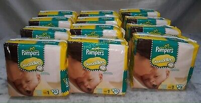 Pampers swaddlers Size 1 20Ct X12  240 TOTAL
