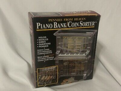 """PIANO Coin-Sorter Bank """"Pennies From Heaven"""" Acrylic New"""