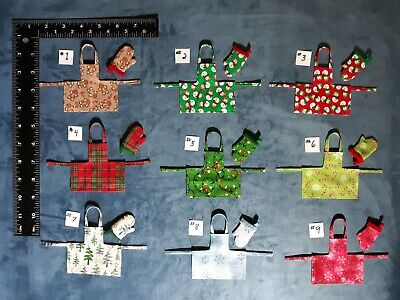 Dollhouse Miniature Apron/Oven Mitt Set (13 styles)