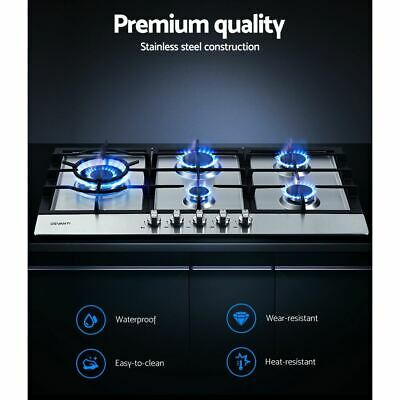 5-Burner Built-in Gas Cooktop Stainless steel NG Stove LPG with Safety Lock 90CM