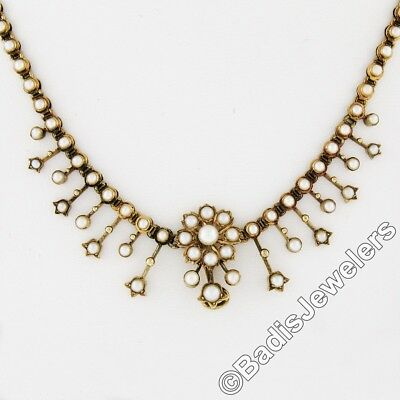Rare Antique Victorian 18K Yellow Gold Natural Pearl Flower Hook Fringe Necklace