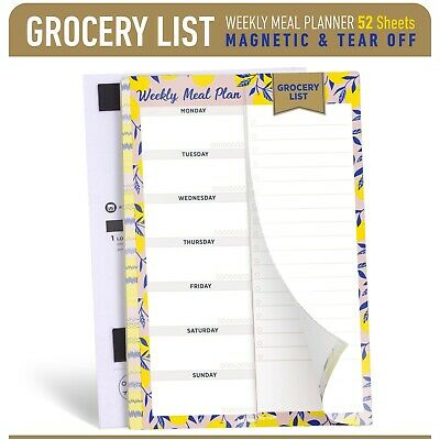Oriday Tear Off Weekly Magnetic Meal Planner Notepad with Grocery Shopping 6x9