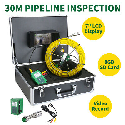 "30M Sewer Waterproof Camera Pipe Pipeline Drain Inspection System 7""LCD DVR Top"