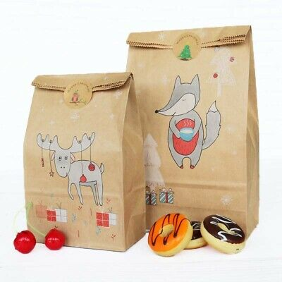 Christmas Kraft Paper Baking Bag Xmas Candy Cookie Cake Gift Bags With Sticker