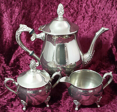 Georgian Style Vintage Silver Plated 3-Piece Tea Service in Lovely Condition