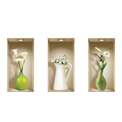 Lot de 3 Vases Muraux Colorés 3D Amovible DIY Art Stickers Autocollants C4D7