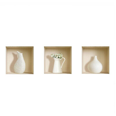 Lot de 3 Art Magic 3D Blanc Vase Murales Amovible Stickers Muraux Stickers Z1M3