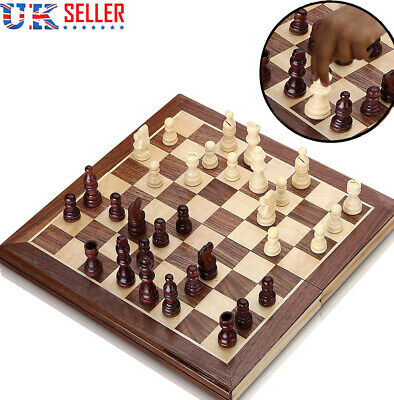 3-in 1 Chess Wooden Set Folding Chessboard Pieces Wood Board UK New