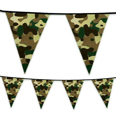 Camouflage Camo Army Green Jungle Military Party Flag Bunting Garland Decoration