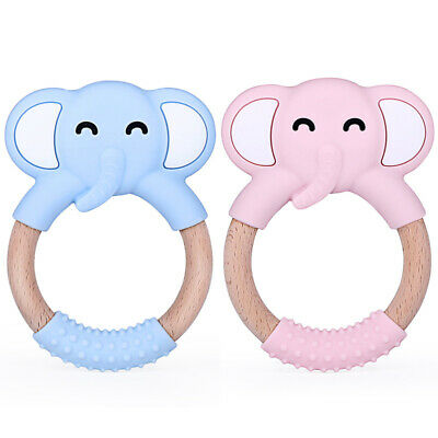 Silicone Elephent Wooden Ring Baby Teether Infant Pacifier Soother Teething Toy