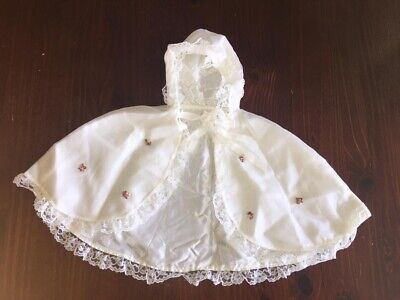 Vintage Retro Baby Cape Shawl Christening, Dolls Outfit Or Fancy Dress