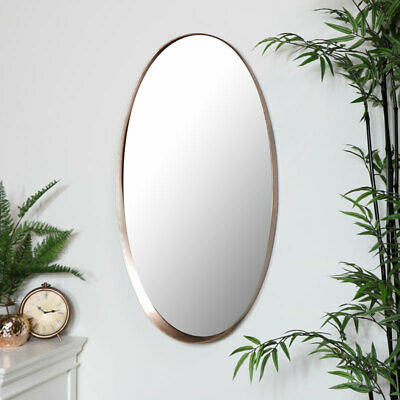 Large oval copper framed wall mirror modern industrial chic home decor display