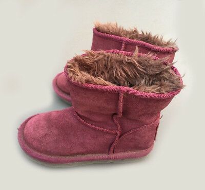 NEXT Girls Boots Uk 10 Kids Fur Trim Purple Plum Suede Slip On Winter Warm 28